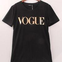 무료 여름 배송비 2018 핫 여성 VOGUE 편지 프린트 T 셔츠 여성 T 셔츠 Camisas 티 여성 spandes T 셔츠에 대한 패션 의류 탑