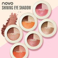 NOVO Göz Farı Paleti Islak Veya Kuru 3 Renk Mat Göz Farı Paleti Pırıltılı Güzellik Makyaj Kozmetik Göz Farı Paleti