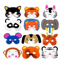 12 PCS / lot Enfants Fête D'anniversaire Fournitures EVA Mousse Animal Masques Dessin Animé Enfants Fête Dress Up Costume Zoo Jungle Masque Fête Décoration