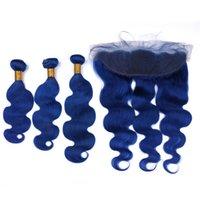 말레이시아 진한 파란색 인간의 머리카락 번들 몸매 파도 물결 모양의 레이스 정면 폐쇄 13x4 순수한 파란색 버진 머리 Weft 확장 Frontals