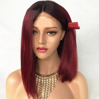 Charming Short Bob Black Root Burgundy Red Color Ombre Hair ...