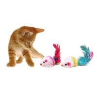 Rato engraçado rato falso brinquedos para gatinho gato colorido de pelúcia mini mouse brinquedos animais de estimação gato jogando brinquedo cor aleatória