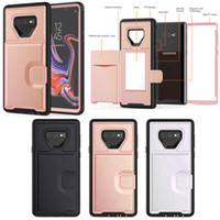 3 в 1 кожаный бумажник карты макияж зеркало прочный гибридный прочный чехол для iPhone 6 6S 7 8 X XR XS Макс Samsung S9 S10 Plus S10E Примечание