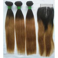 T1B / 27 Ombre Brezilyalı Saç Örgü Demetleri Ile Kapatma Sarışın Düz İnsan Saç 3 Bundle 4x4 Orta Kısmı Dantel Kapatma Ile Olmayan Remy