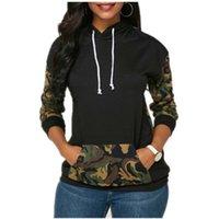 가을 뜨거운 폭발성 인쇄 여자의 긴 소매 패널 포켓 후드 스웨터 원피스 슬림 맞는 스웨터