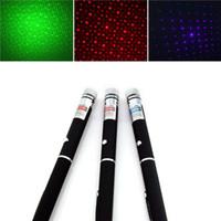 قوي 3 اللون الليزر القلم Puntero مؤشر الليزر 5mw وCaneta ليزر أخضر / أحمر / أزرق بنفسجي الليزر الأخضر مع كاب ستار