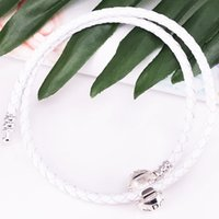 Bracciale Pandora Moments Double Woven Leather - Ivory White Authentic 925 Sterling Silver Style Jewelry Bracciale 590745CIW-D