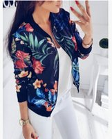 Women Plant Printed Baseball Jackets Short Zipper Up Fashion...
