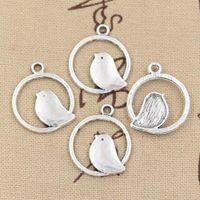 весь sale15pcs прелести круг птичка 20 мм античный посеребренные подвески, делая DIY ручной работы Тибетского серебра ювелирные изделия