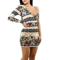 European and American sexy deep V printed unilateral long- sl...