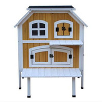 HEIßE VERKÄUFE 2-stöckige hölzerne angehoben erhöhte Katze Cottage Pet House Indoor Outdoor Kennel Viehbestand Geflügel Käfige Zubehör