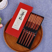 Chopsticks Handmade 5 pairs Natural Wood Lacquer Wooden Chop...