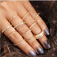 12pcs 1set Diamond Set Rings Combination Wrapping Knotted Li...