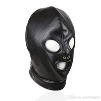 Adult Products Sex Bondage Black Shiny PU Leather Headgear D...