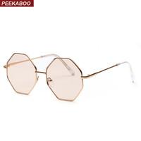 كبير خمر المضلع نظارات الإناث 2019 مثمن ملون نظارات الشمس واضحة للنساء الرجال إطار معدني UV400