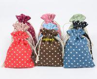 50 قطعة / الوحدة نقطة متعدد الألوان خمر الطبيعية الخيش هدية أكياس الحلوى حفل زفاف لصالح الحقيبة أكياس الجوت هدية التموين