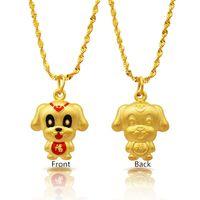 جديد وصول موضة الذهب مطلي لطيف 3d زودياك الكرتون الكلب قلادة القلائد مع سلسلة ملتوية سنغافورة مجوهرات للنساء