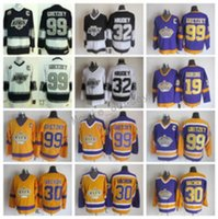 Los Angeles 99 Wayne Gretzky Jersey 30 Rogatien Vachon 19 Butch Goring 32 Kelly Hrudey Eski Hokey Formaları CCM