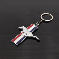 Misura per Ford Mustang 3D Car Gift Running Horse Chrome Metallo genuino Portachiavi Auto logo KeyChain Car Portachiavi Car Styling