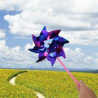 Bunte neuheit spielzeug kunststoff windmühle windrad selbstmontage blume wind spinner kinder spielzeug geschenk für jungen mädchen baby farbe zufällig
