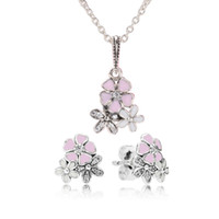 Original 925 Sterling Silver Pink Enamel flower Pendant Neck...