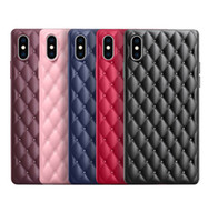 For iPhone X XR XS MAX 7 8 Plus Luxury 3D Grid Leather Patte...