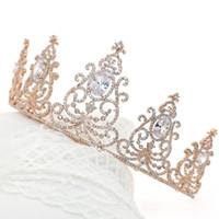 Lüks Gül Altın Taçlar Tiaras Gelinler için Zirkon Kristaller Düğün Saç Aksesuarları Kızların Prenses Gelin Taçlar