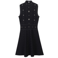 2018 estate nero stand colletto senza maniche a-line vestito donna vestito di marca dello stesso stile cristalli di stile bottom vestidos de festa 13