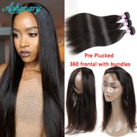Cheap Brazilian Human Hair Straight Bundles With 360 Lace Fr...