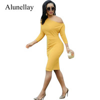 3200f60ca2 Alunellay Gold One Shoulder Damen Kleider Sommer Damen Mantel Street Casual  Dress Damen Dreiviertel Ärmel Knielanges Kleid