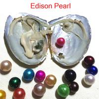 Darmowa Wysyłka Hurtownie 2018 Nowy DIY 9-12mm Kolorowe Edison Round Grade A Pearl In Oyster z Packuum Packing Fashion Trend Surprise