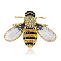 새로운 도착 2018 크리스탈 옐로우 꿀벌 여성을위한 브로치 패션 화려한 브로치 귀여운 브로치 핀 좋은 선물 브로치 핀 무료 배송
