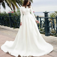 Satin Vintage Long Sleeves Wedding Dresses Bateau Sweep Trai...