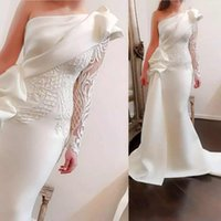 Pure White Satin Mermaid Evening Dresses For Formal Wear One...