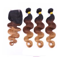 T1b 4 27 Ombre Body Wave Human Hair Weaves Bundles With Lace...