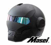 Negro mate MASEI IRONMAN Iron Man casco motocicleta retro medio casco casco abierto 610 ABS casque motocross