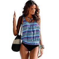 ملابس النساء ملابس السباحة Tankini المايوه زائد حجم ملابس السباحة Tankini مجموعة خمر طباعة الدعاوى عالية الخصر السباحة ملابس الشاطئ 1017