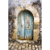 Blue Painted Wooden Door Photography Backdrops Vintage Baby ...