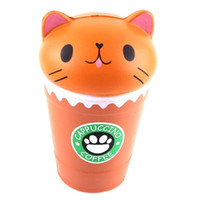 14 cm Cut Cappuccino Coffee Cup Cat Scented Squishy Lento Levantamiento Squeeze Toy Collection Cure regalo al por mayor
