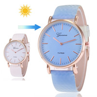 Luxury Women Thermochromic Change Color Watch Watches PU Lea...