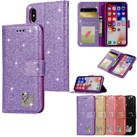 Magnetic Bling Diamond Flip PU Leather Wallet Case For iPhon...