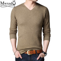 Mwxsd Casual Hommes Pulls Hommes Col V Pull Pull à carreaux Jersey Pull Homme Pulls De Noël solides