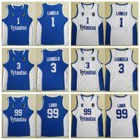 Camisa de los hombres Lituania Vytautas Prienu Baloncesto 1 LaMelo Jersey Ball 3 LiAngelo bola Uniforme 99 LaVar bolas Todas cosido buen equipo azul blanca