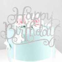 Happy Birthday Cake Topper Baking Decorating Flags Forniture Kids Cake Glitter Decor Cake Stand Topper Puntelli di scena