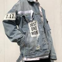 2018 Denim Ceket erkek Yüksek Kaliteli Denim Ceketler Hip Hop Çözünmüş Streetwear Vintage Erkek Ceket Jean Giyim Boyutu M-XL