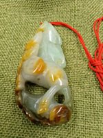 Сертифицированное апельсиновое масло, зеленый натуральный жадеит, белый конь к успеху, круг безопасности, кулон Ruyi.
