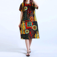 Bayan O Boyun Çiçek Baskı Kısa Kollu Pamuk Keten Rahat Diz Boyu Elbise Baggy Boho Tunik Kaftan Artı Boyutu