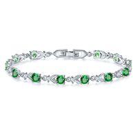 Gotas de água Natural Verde Cubic Zirconia Branco CZ 925 Sterling Silver Jewelry Charm Bracelet Presentes de Natal Para As Mulheres