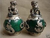 زوج الصينية زوج من التبت الفضة التنين الأخضر اليشم فو الكلب تمثال الأسد 2 قطع حديقة الديكور النحاس
