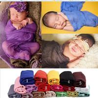 18 Cores Bebê Planície Fotografia Adereços cobertores Recém-nascidos Longo Leve Strechy Envoltório Swaddling Wraps Adereços Foto Blanket Berçário Cama